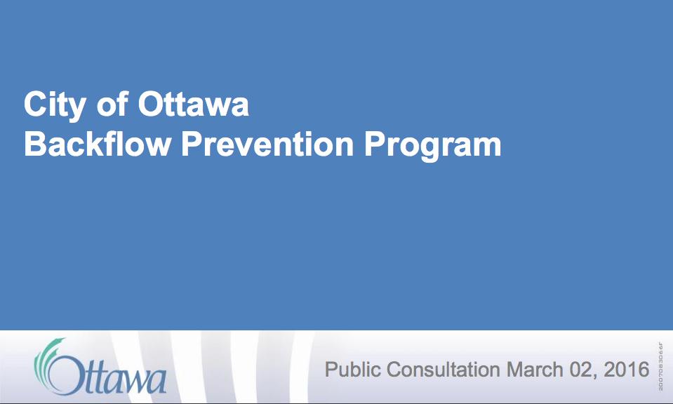New City of Ottawa Backflow Prevention Program